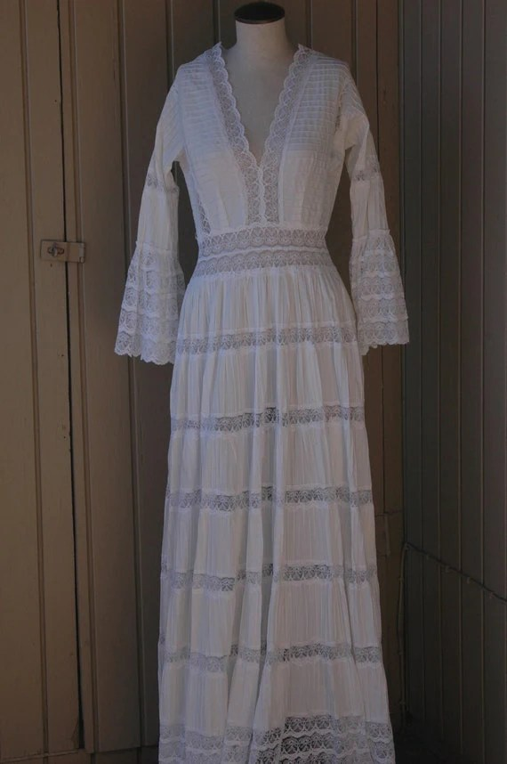 Vintage White Mexican Maxi Wedding Dress Lace by retrocollective77