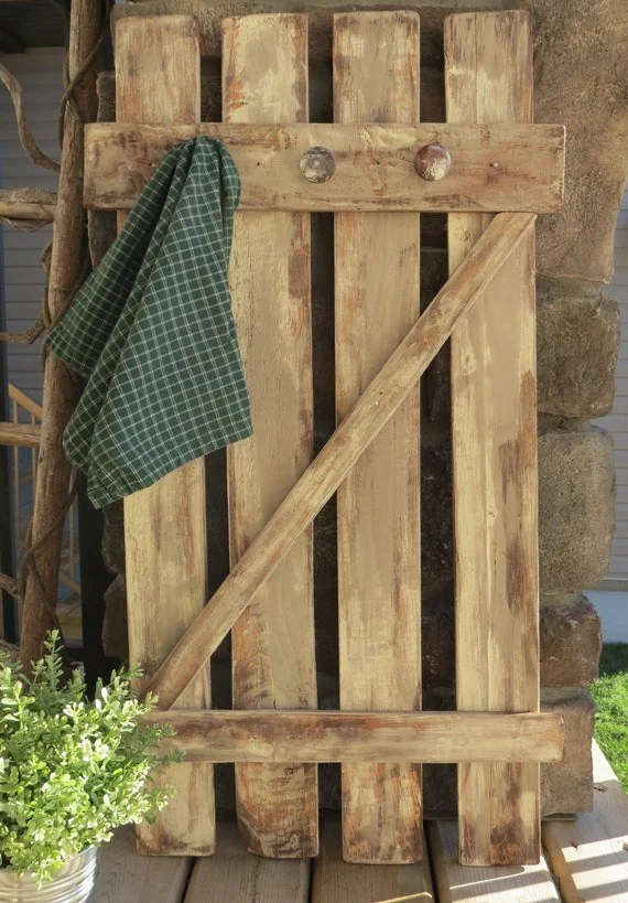 Distressed Rustic Wood Gate Coat Hook For The Home Country