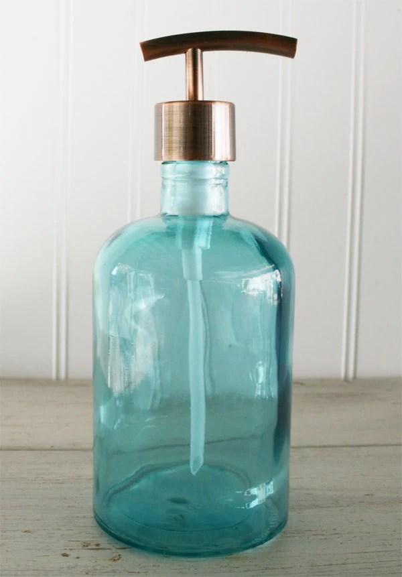 kitchen liquid dispenser discounted appliances recycled glass soap aqua blue copper modern
