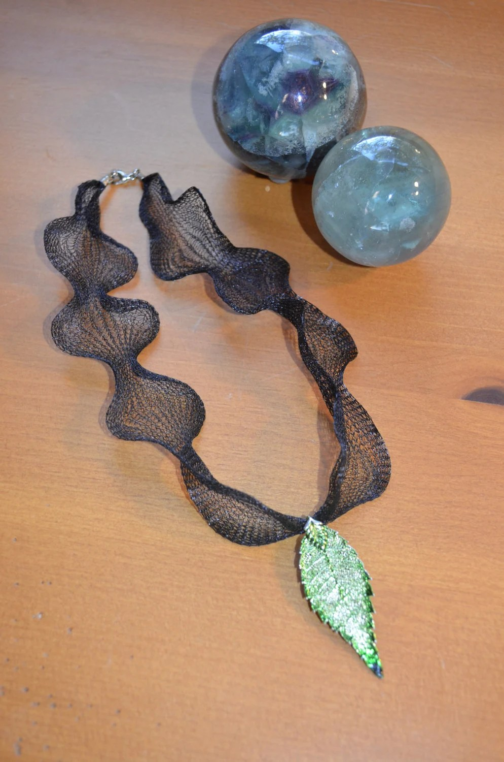 Black metal mesh necklace with green leaf pendant--woodland chic choker - n2thewoods