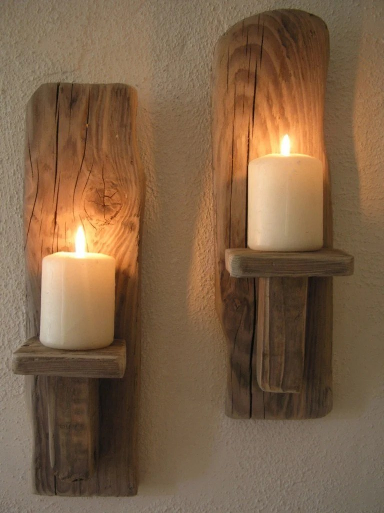 2 Irish Driftwood Wall Candle Sconces