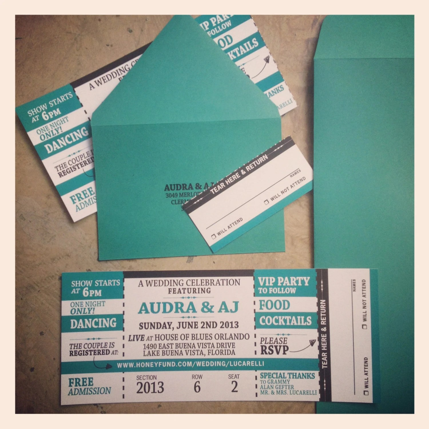 Concert Ticket Invitation with RSVP tearoff by papercakedesigns