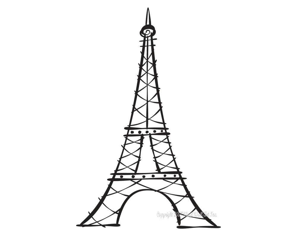 Eiffel Tower Vinyl Decal size SMALL Home Decor Office Decor