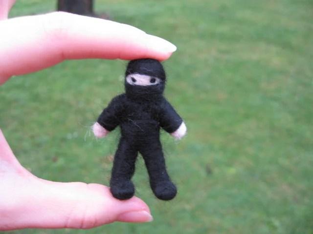 Needle Felted Pocket Ninja Bendy Doll