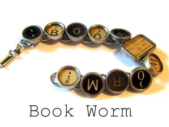 Eclectic vintage typewriter key  bracelet  book worm