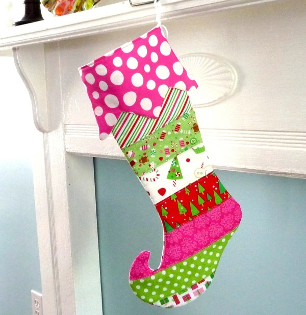 Personalized Christmas Stocking Quilted Elf Modern Stripe