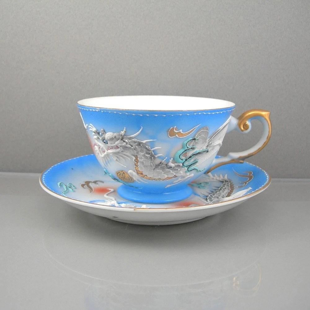 Vintage Lithophane Dragonware Tea Set Japanese Moriage