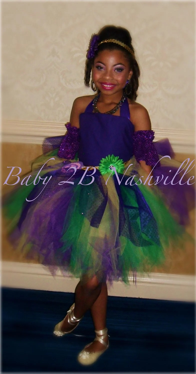 Items similar to Mardi Gras Pageant Costume Tutu 2 Piece Dress with Matching Cuffs Girls 56T on