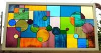 Stained glass window Geometric Splash II W-37