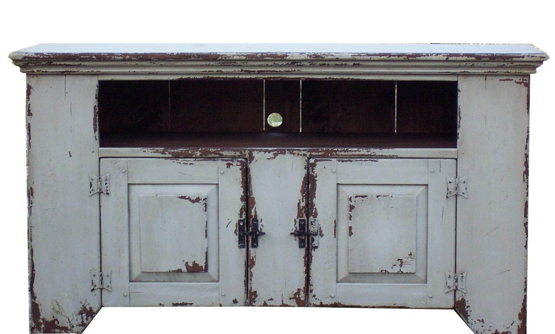 Primitive Distressed Media Console Cupboard Cabinet