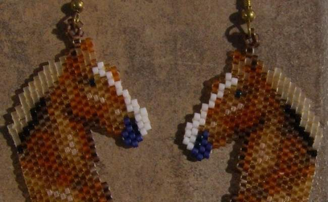 Belgin Horse Head Earrings Hand Made Seed Beaded
