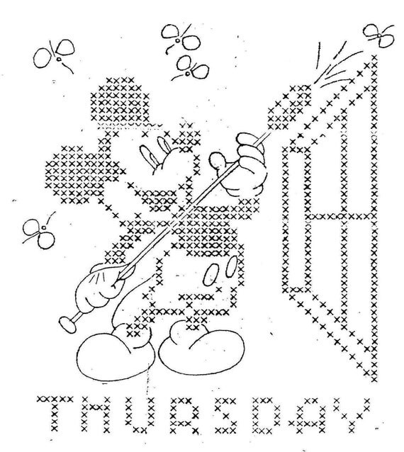 Mickey Mouse Cross Stitch Days of the Week Hand by