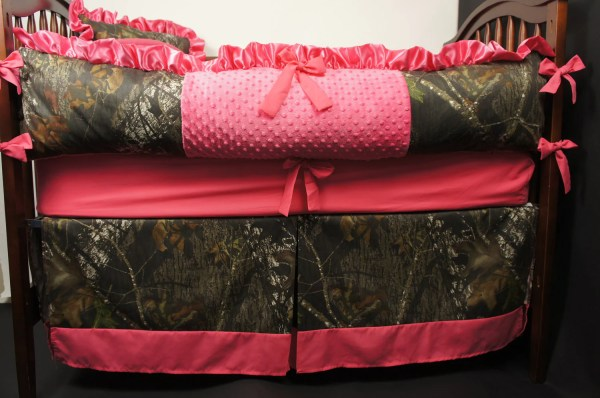 Custom Mossy Oak Hot Pink Baby Bedding Crib Set