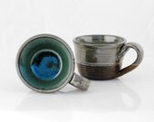 wheel thrown mugs blue  - black clay set of two - claylicious