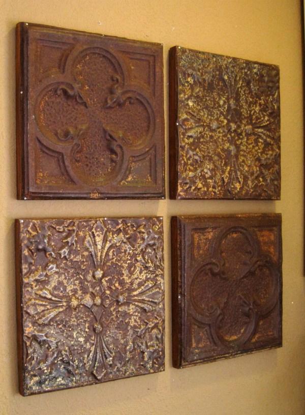 4 Antique Ceiling Tin Tiles. Circa 1900. Driveinservice