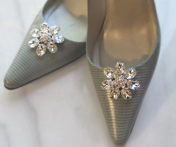 7466c6fe9a9b6 Pewter Color Shoes for Wedding · Rhinestone Shoe Clips Bridal Crystal