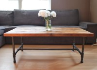 Items similar to Wood Coffee table with steel pipe legs ...