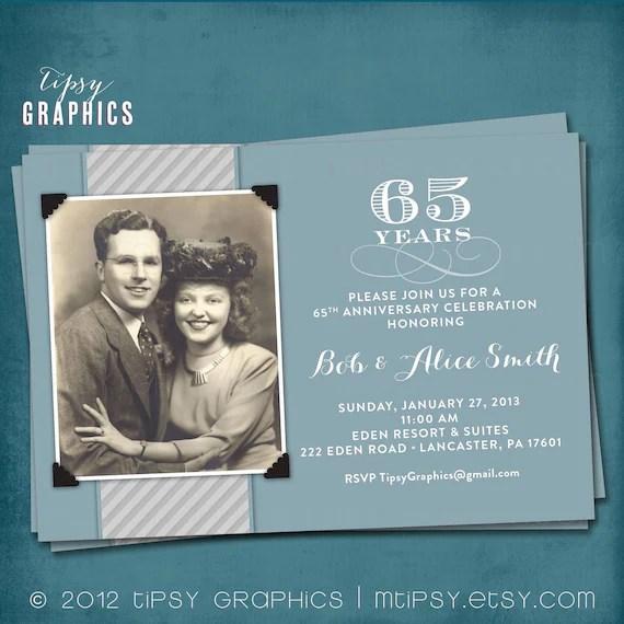 Blue & Silver 65th Wedding Anniversary Invitation Or