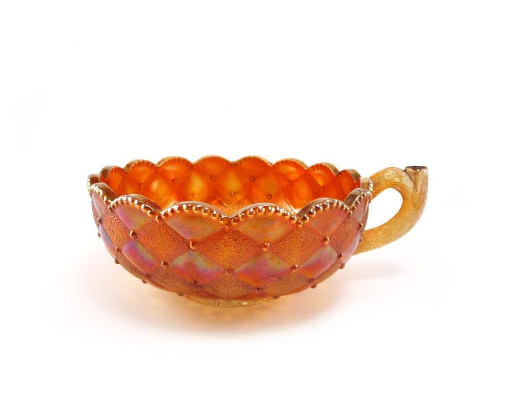 Orange vintage glass dish carnival glass bowl Halloween candy