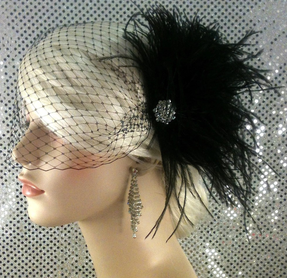 Bridal Feather Fascinator, Bridal Fascinator, Bridal Headpiece, Bridal Hair Accessories, Bridal Veil, Black Feather Bridal Hair Clip