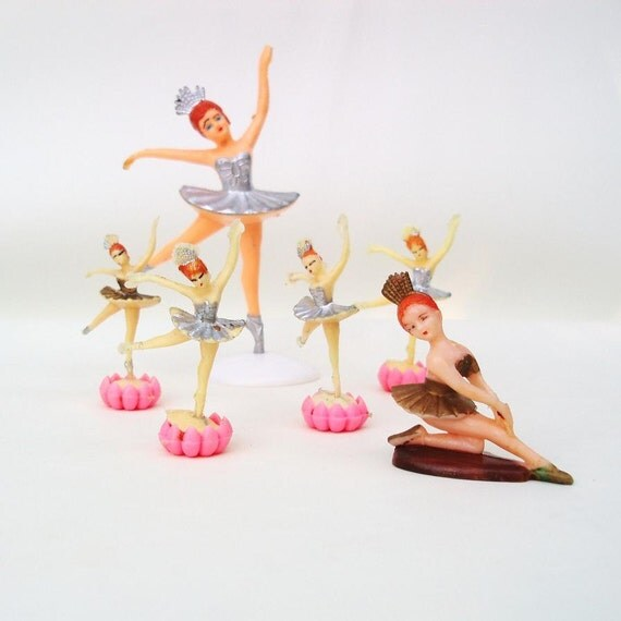 Vintage Ballerina Cake Toppers Ballet Little Girl Party 1960s