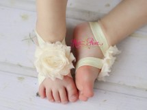 Ivory Baby Shoes-baby Barefoot Sandals-baby Hartsandroses