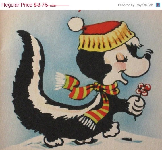 HoLiDAY SaLE nos Vintage Skunk Christmas Card Novelty