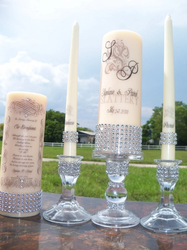 Ivory Unity And Memorial Candle Set.holders