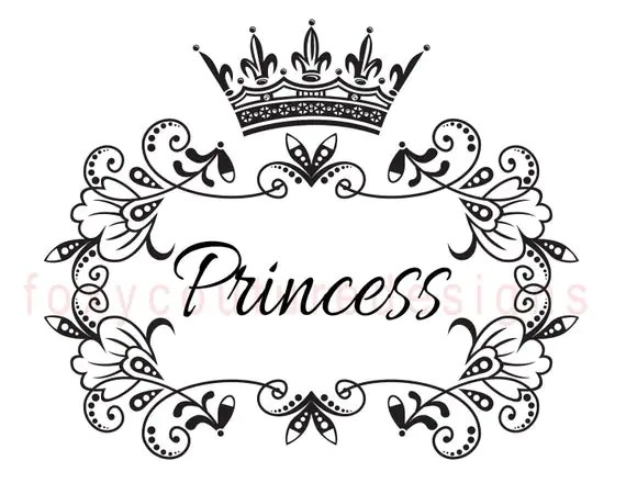 Items similar to Princess with Crown Vintage Large Image
