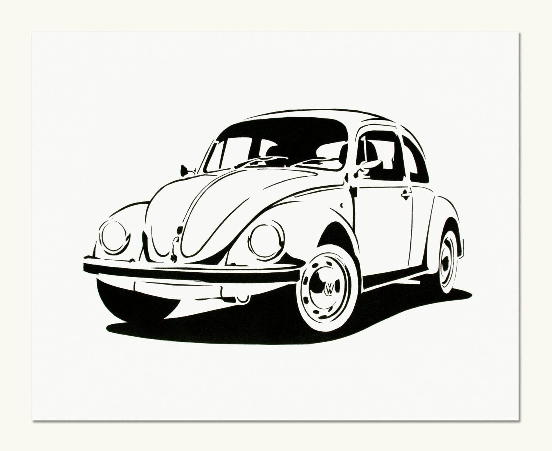 Classic Car Print VW Beetle