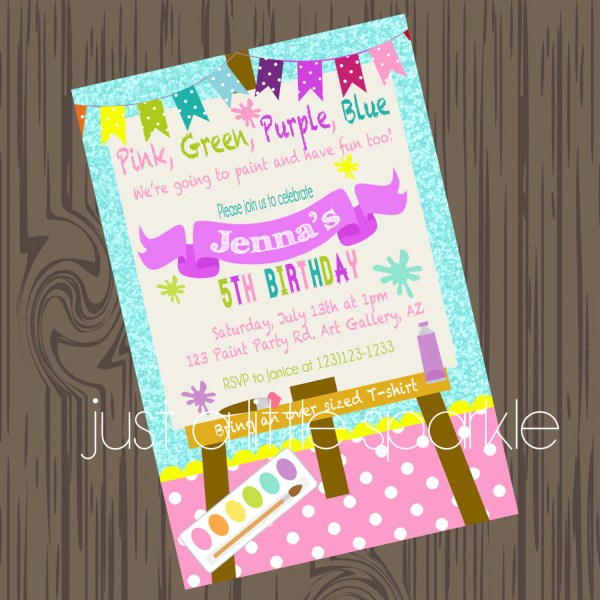 Paint Party Invitation Art Supply