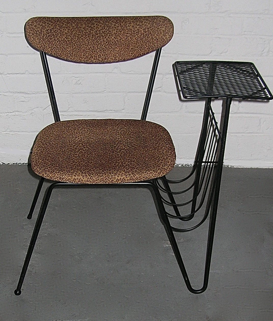 chair attached table hospital recliner wrought iron mid century gossip with