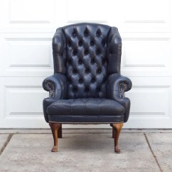 Distressed Leather Dining Chairs Uk Wingback Chair Covers Walmart Vintage Navy Blue Tufted Library