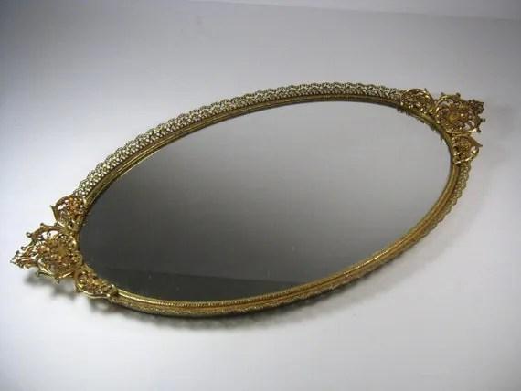 Vintage Gold Tone Vanity Mirror Tray Oval Vanity Mirror Tray