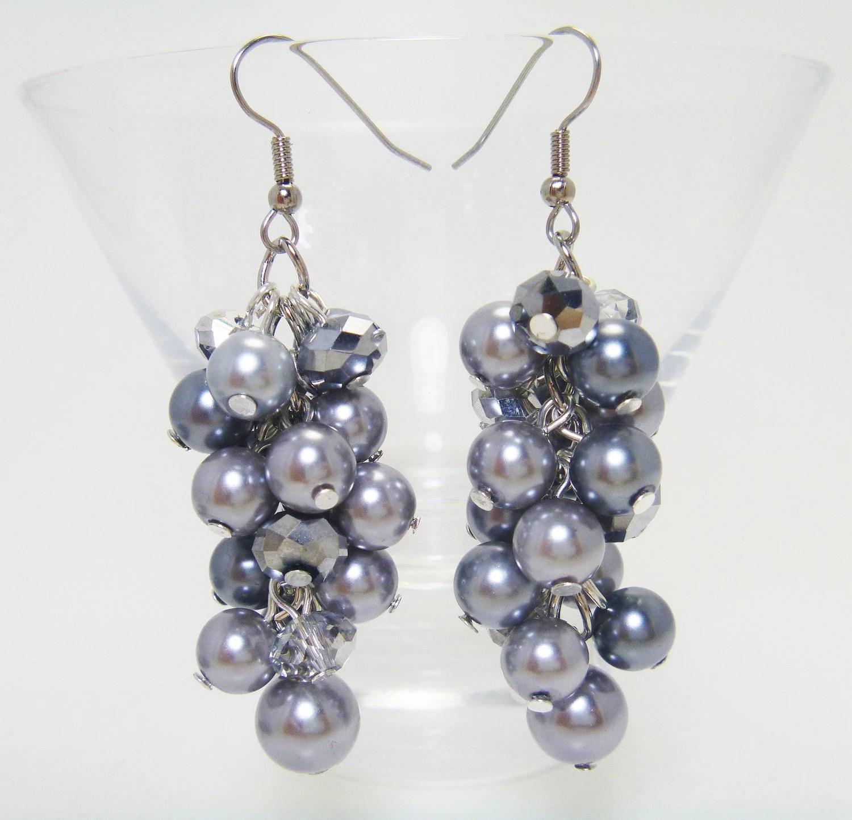 Gray Pewter Cluster Earrings Pearl Cluster Earrings Pearl