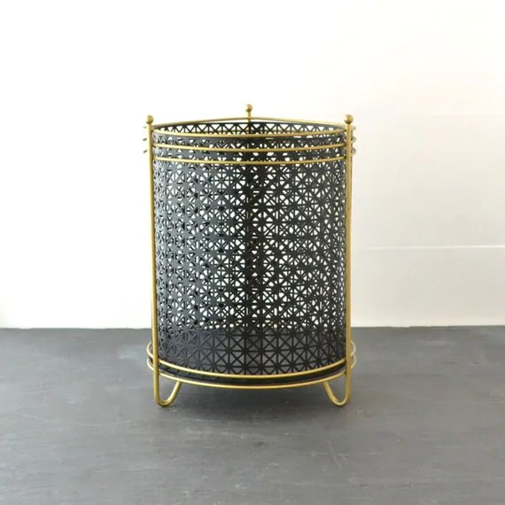 Mid Century Trash Can Metal Waste Basket Vintage Trash Can