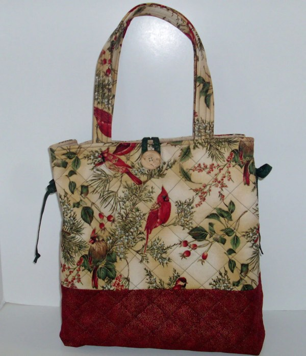 Extra Large Quilted Tote Bag With Cardinal Print