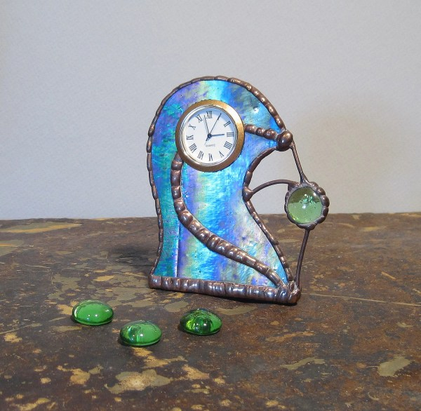 Unique Stained Glass Desk Clock Blue Green Purple And