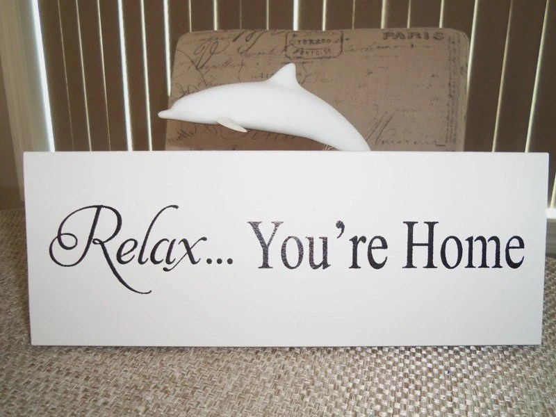 Items similar to Wooden Signs  RELAX Youre Home  Wall Decor  Wall Hanging  Shelf Sign