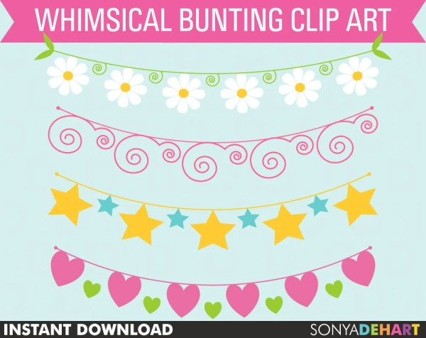 clipart bunting whimsical spring