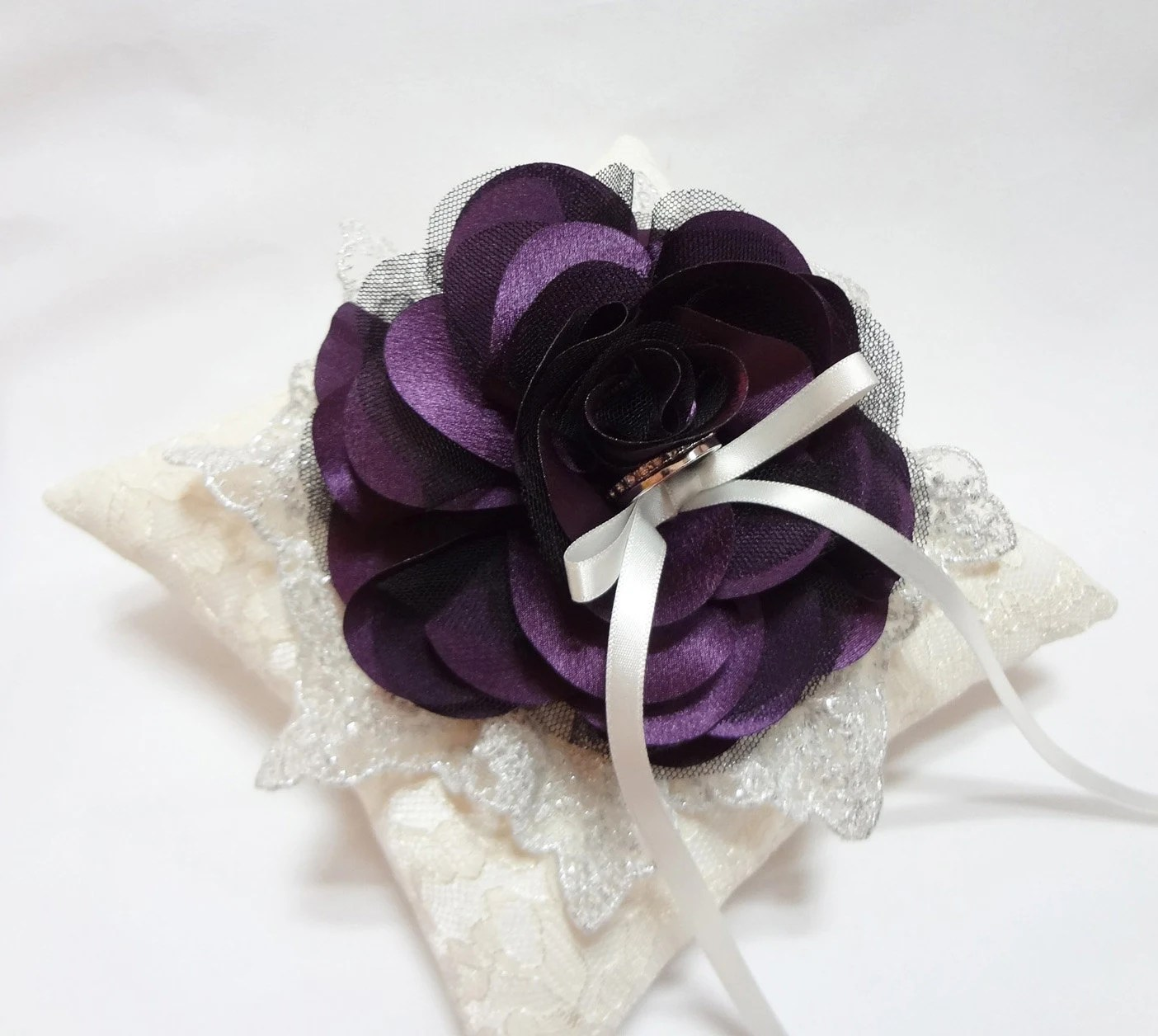 Wedding ring pillow purple wedding ring pillow lace ring