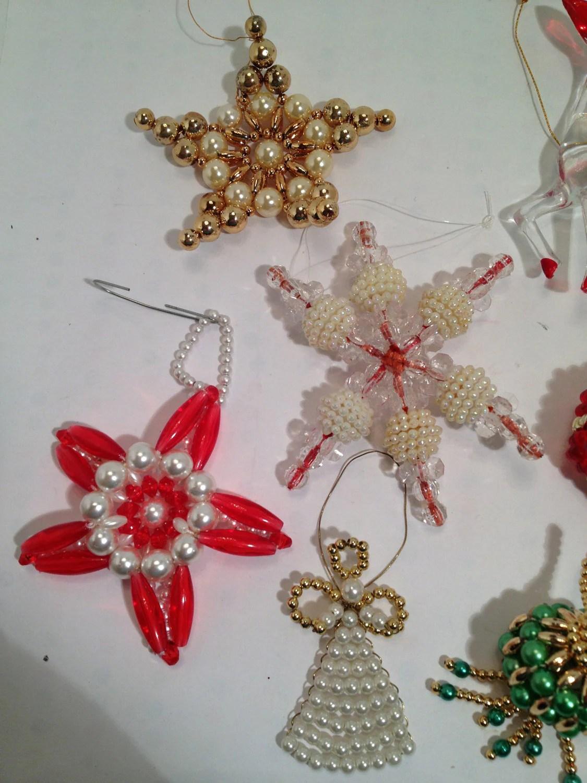 10 Beaded Ornaments Vintage Plastic Bead Ornaments Christmas