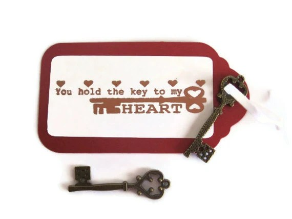 "2 ""You Hold the Key to My Heart"" Valentine's Day Gift Tags with Vintage Key"