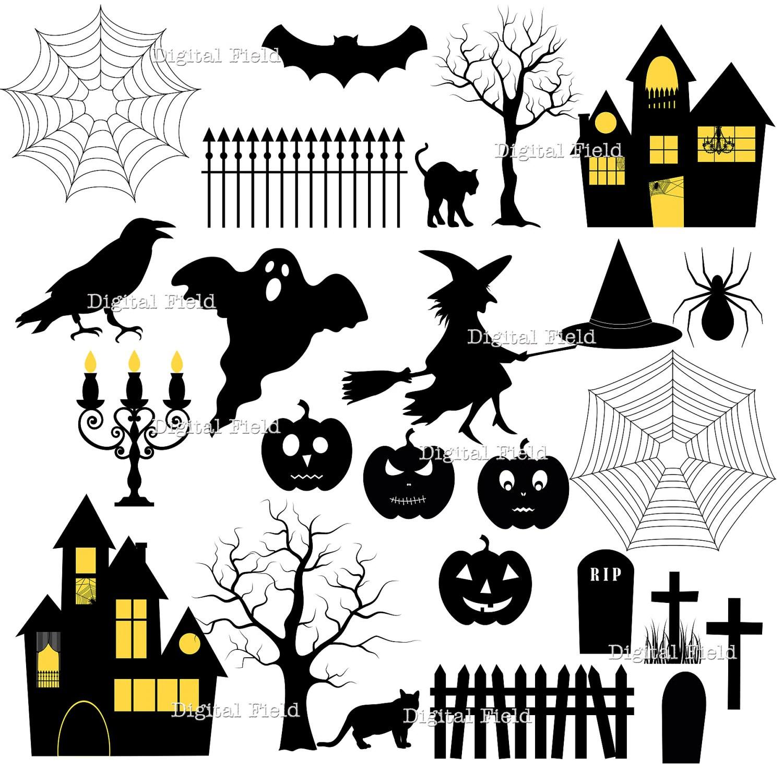Halloween Silhouette Clip Art Set Halloween Printable