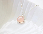 Powder Pink Quartz Necklace - MadeByMaru