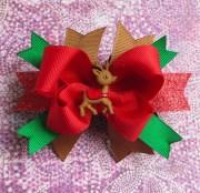 chistmas hair bow reindeer