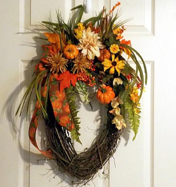 listing fall autumn oval grapevine wreath