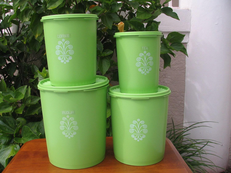 green apple kitchen decor island portable vintage 4 piece tupperware nesting decorative canister set