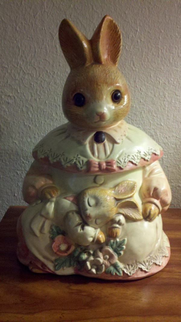 Mama Rabbit And Baby Cookie Jar