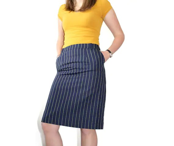Navy Pencil Skirt with Yellow Pinstripe